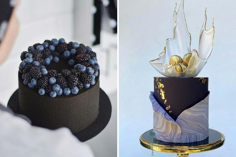 Свадебные торты 2021: с черникой, одноярусный фото