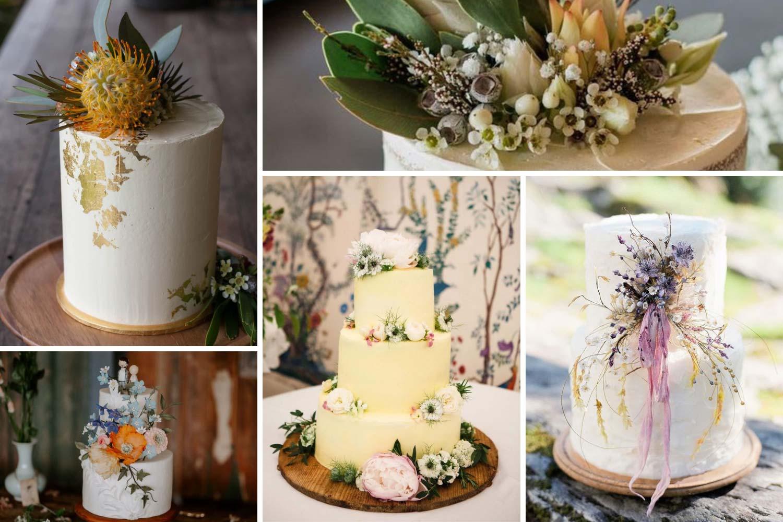 Свадебные торты с живыми цветами полевыми, экзотическими фото