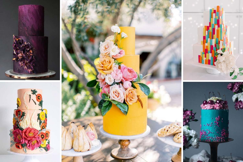 Яркий торт свадебный фото