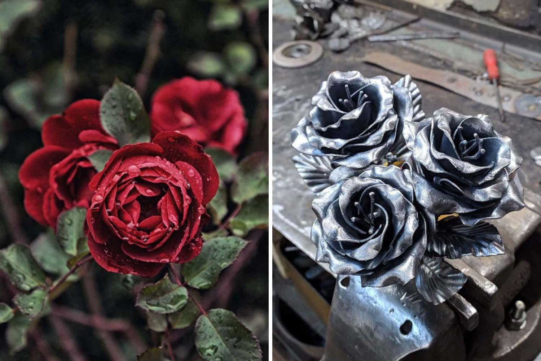 Розовый куст, роза из металла фото