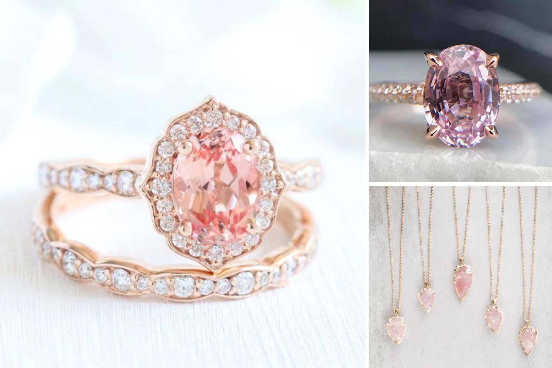 Ювелирные украшения с розовыми камнями фото