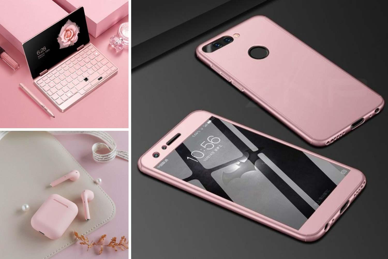 Розовый смартфон, наушники, ноутбук фото