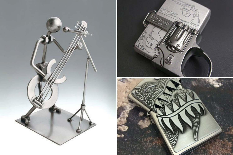 Металлическая зажигалка, скульптура техно-арт фото