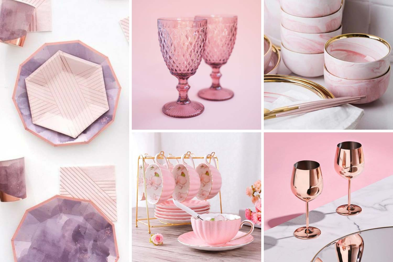 Розовая посуда: бокалы, тарелки, чашки фото