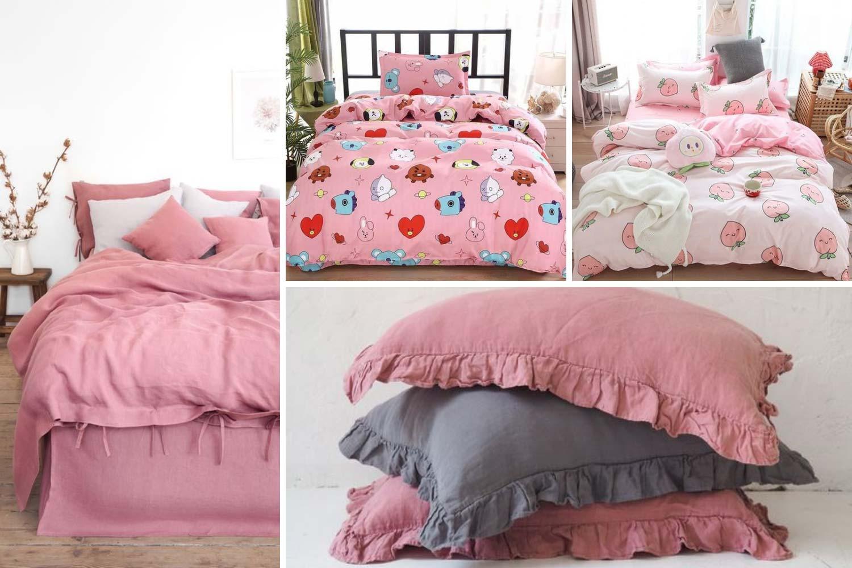 Розовое постельное белье фото, текстиль для спальни