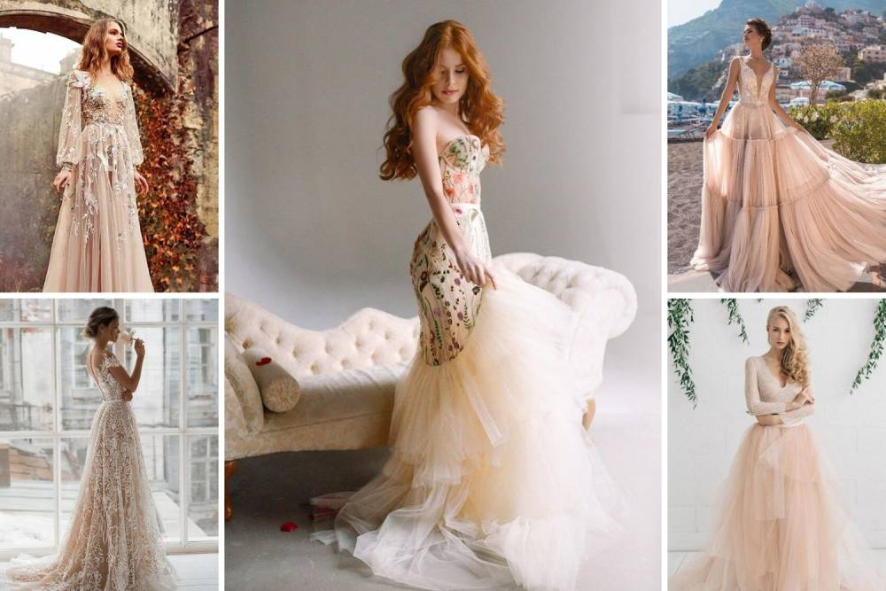 весільна сукня нюдове