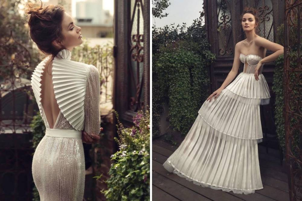 весільна сукня з плісировкою